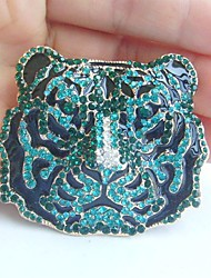 Women Accessories Gold-tone Turquoise Green Rhinestone Crystal Tiger Brooch Art Deco Crystal Brooch Women Jewelry
