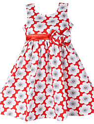 Girls Fashion Floral  Bow Party Birthday Children Clothing  Dresses (100% Cotton)