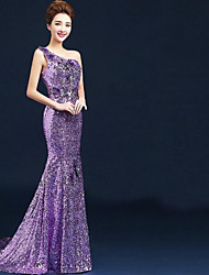 Formal Evening Dress - Lilac Plus Sizes Ball Gown One Shoulder Floor-length Velet Chiffon
