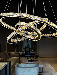 LED Crystal Pendant Lights Chandelier Lighting Transparent Crystal Round 3 Rings LED Warm White Ceiling Lamps Fixtures