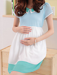 Maternity Cute Pan Collar Contrast Color Short Sleeve Dress