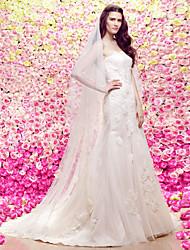 Lanting Bride Trumpet/Mermaid Wedding Dress-Court Train Strapless Lace / Tulle