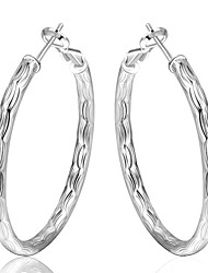 lureme® European Style Silver Plated Round Fish Lines Hoop Earrings