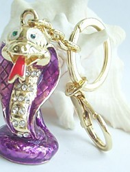 Unique 3D Purple Snake Key Chain With Clear Rhinestone Crystals