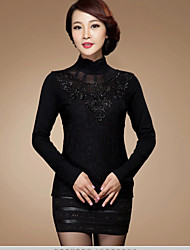 Women's Lace Black/Green Blouse , Stand/Turtleneck Long Sleeve Lace