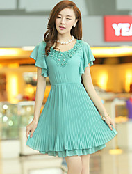 Women's Casual/Party/Work Short Sleeve Dresses (Chiffon/Polyester)
