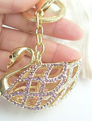 Pretty Swan Key Chain Pendant With Clear & Purple Rhinestone Crystals