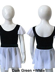 Velvet Dark Green and Chiffon White Leotard with Skirts for Girls and Ladies