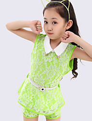 Girl's Summer Micro-elastic Thin Sleeveless Tops Trousers Clothing Sets (Cotton Blends/Lace)