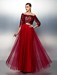 TS Couture® Formal Evening Dress Plus Size / Petite A-line Bateau Floor-length Tulle / Sequined with Sash