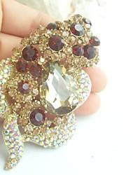 Women Accessories Gold-tone Topaz Rhinestone Crystal Brooch Wedding Bouquet Bridal Deco Flower Brooch
