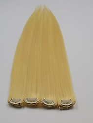 40Pcs 100G Unprocessed Brazilian Hair Silky Straight  Bleach Blonde Color Single Clips Hair Extension