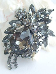 Women Accessories Gray Rhinestone Crystal Brooch Bouquet Art Deco Flower Brooch Women Jewelry