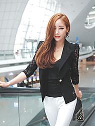 Women's Lace/Work V-Neck Long Sleeve Suits & Blazers (Cotton)