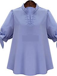 Vestimenta de Dorso y Blusas ( Algodón )- Playa/Casual/Bonito Soporte ½ Longitud de manga para Mujer