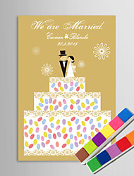 E-HOME® Personalized Fingerprint Painting Canvas Prints - On The Cake (Includes 12 Ink Colors)