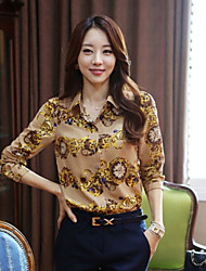 Women's Print Yellow Shirt , Shirt Collar Long Sleeve Flower