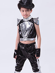 Jazz Performance Outfits Children's Performance Polyester Sequins Outfit Black/Blue Kids Dance Costumes