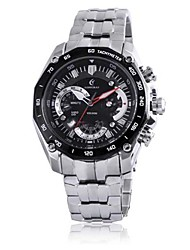 Men's Analog Stainless Steel Case Round Dial Stainless Steel Band Japan Quartz Watch Men's Sport Watch(Assorted Colors)