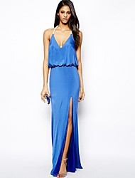 Women's Blue Dress , Party Sleeveless