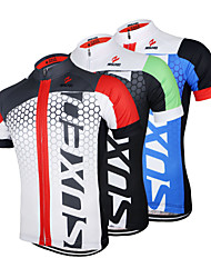 Arsuxeo Cycling Jersey Men's Short Sleeves Bike Jersey Tops Quick Dry Anatomic Design Front Zipper Breathable 100% Polyester Patchwork