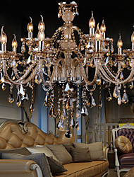 Chandelier Crystal  Cognac Color Luxury Modern 2 Tiers Living 15 Lights