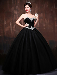 Formal Evening Dress - Black / Daffodil Petite Ball Gown Sweetheart Floor-length Lace / Satin / Tulle / Polyester