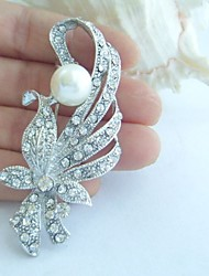 Wedding Accessories Wedding Deco Silver-tone Pearl Rhinestone Bridal Brooch Wedding Bouquet Bridal Jewelry