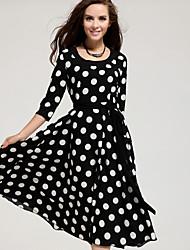 Women's Casual Polka Dot ½ Length Sleeve Midi Dress (Chiffon)