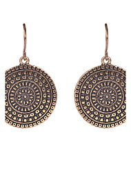 Women Vintage Earrings Gold/Silver Plated Round Shaped Retro Flower Print Dangle Earrings Jewelry