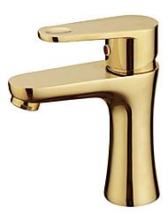 Warpeu® Gold Plated Single Handle Countertop Brass Basin Faucet Mixer