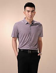 Men's Casual/Work Red and Black Cursor Print/Plaids & Checks Short Sleeve Regular Shirts (Cotton)