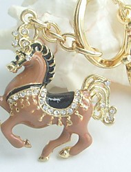 Purse Charming Brown Horse Key Chain With Clear Rhinestone Crystals