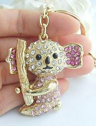 Charming Panda Koala Key Chain With Pink & Clear Rhinestone Crystals