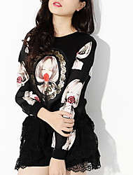 Women's Round Tops & Blouses , Chiffon Casual/Print/Cute/Party/Work Long Sleeve AWX