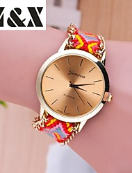 Women's Fashion Diamond Colorful Ice-cream Quartz Analog Weaving Wool Band Wrist Watch(Assorted Colors)