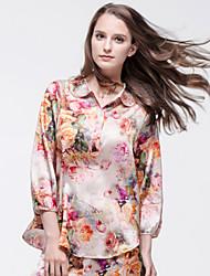 Silk Stretch Satin Pajama Set  Nine Point Sleeve Heavy-weight Silk Women Leisure Wear with Fabric Peony Printing