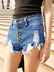 Women's Button High Waist Ripped Denim Shorts