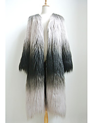 Fur Coats Coats/Jackets Long Sleeve Faux Fur Gray