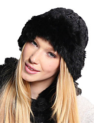 Kenmont Winter Women Lady 100% Rabbit Hair Handwork Knitted Cap Warm Fashion Party Hat 1244