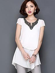 Women's Solid White/Black/Gray Dress V Neck Short Sleeve Sequins