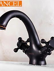 bronze esfregou-óleo estilo tradicional terminar duas alças torneira pia do banheiro