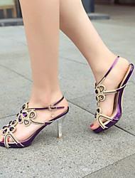 Women's Shoes Synthetic Stiletto Heel Open Toe/SlingBack/ Ankle Strap/Sandals Dress Purple/Gold