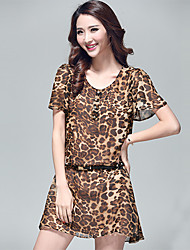 Women's Short Sleeve Chiffon Leopard Print Dress
