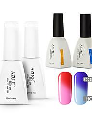 Azure 4 Pcs/Lot Color changing Soak Off UV  Nail Gel Polish Manicure Kit(#07+#17+BASE +TOP)