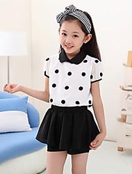 Girls Dot Skirt Suit