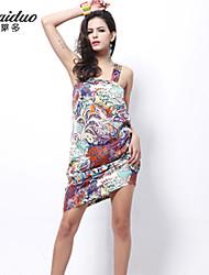 AOLD®Women's Vintage/Sexy/Beach/Print/Plus Sizes Micro-elastic Sleeveless Knee-length Dress (Satin/Silk/Polyester)