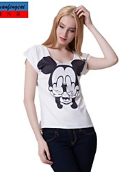 Druckt-shirt Mode-Rundhalspullover Unterhemd dünnes T-Shirt lässig cmfc®women Allgleiches Oberbekleidung