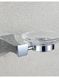 Chrome Finish Glass Square Bathroom Soap Dish Holder  Wall Mounted Rectangle Rack