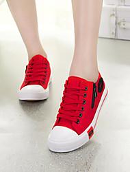 Для женщин Удобная обувь Ткань Весна Лето Осень Повседневные Молнии Шнуровка На плоской подошве Черный Белый Красный Синий Менее 2,5 см
